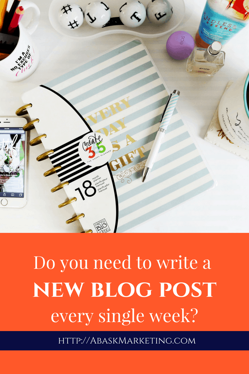 Do I need to write a new blog post every week? Abask