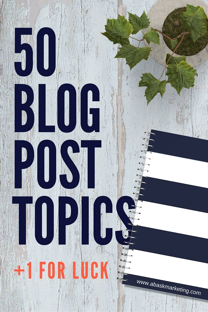 50 Blog Post Topic Ideas
